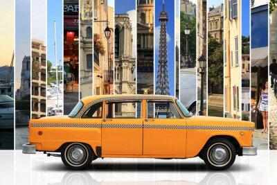 Väggdekor Taxi, retro bil orange färg på den vita bakgrunden