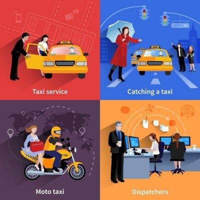 Väggdekor Taxi service 2x2 Banners Set