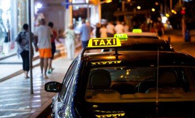 Väggdekor Taxiskylt på natten