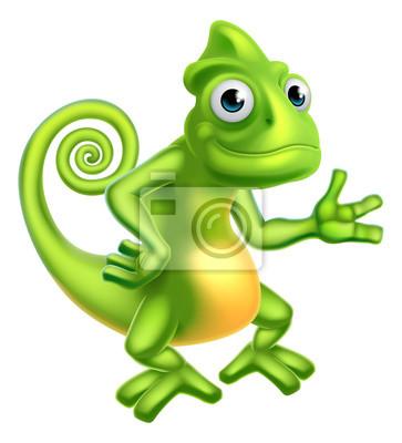 Väggdekor tecknad Chameleon