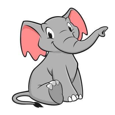 Väggdekor tecknad elefant