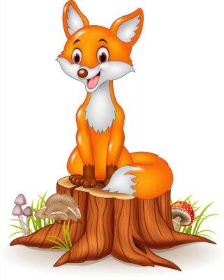 Väggdekor Tecknad glad räv sitter på stubbe