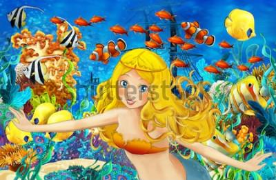 Väggdekor Tecknad hav och sjöjungfrun i undervattensriket som simmar med fiskar - illustration för barn