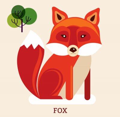 Väggdekor Tecknad illustration med söta räv