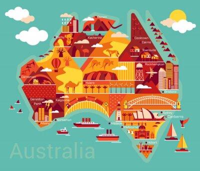 Väggdekor Tecknad karta över Australien