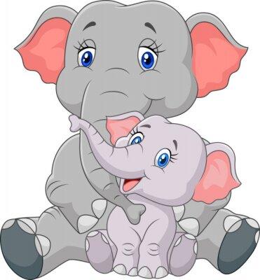 Väggdekor Tecknad mor och barn elefant sitter isolerade på vit bakgrund