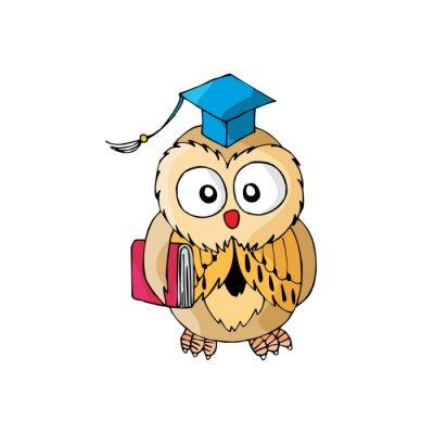 Väggdekor Tecknad Owl Dess Smart
