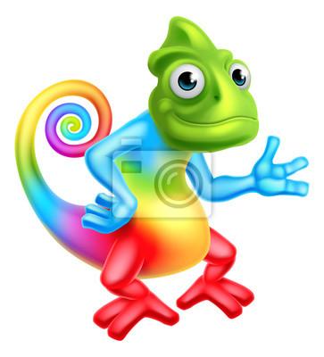 Väggdekor Tecknad Rainbow Chameleon