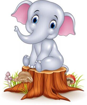 Väggdekor Tecknad rolig bebis elefant sitter på stubbe