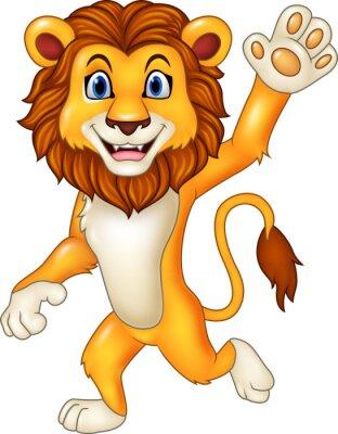 Väggdekor Tecknad rolig lejon vinka