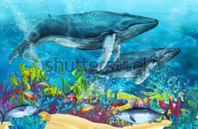 Väggdekor tecknad scen med val nära korallrev - illustration för barn