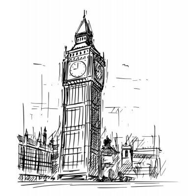 Väggdekor Tecknad skiss skiss illustration av Westminster Palace, Big Ben Elizabeth klocktorn i London, England, Storbritannien.