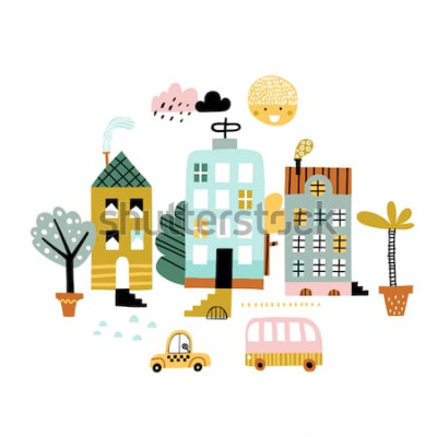 Väggdekor Tecknad stadstryck. Barnslig vektorillustration med skyskrapa, byggnader och bilar. Design för affisch, kort, väska och t-shirt, omslag. Pastell färger. Skandinavisk stil.