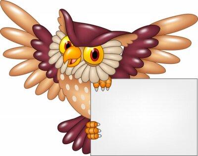 Väggdekor Tecknad uggla fågel flygande håller tomt tecken
