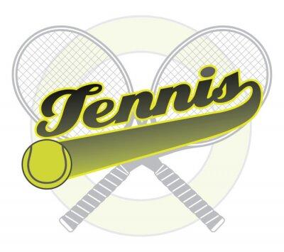 Väggdekor Tennis med svans Banner är en illustration av en tennis design med ordet tennis med en svans banner för din egen text, tennisbollar och tennisracketar.