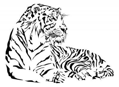 Väggdekor Tiger svart och vitt