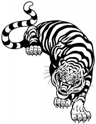 Väggdekor tiger svart vit