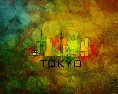 Väggdekor Tokyo City horisont på grunge bakgrund Illustration