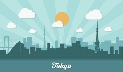 Väggdekor Tokyo horisont - platt design