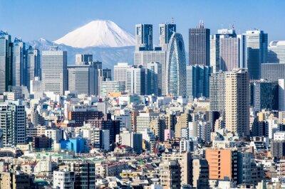 Väggdekor Tokyo på vintern med Fujiyama i bakgrunden