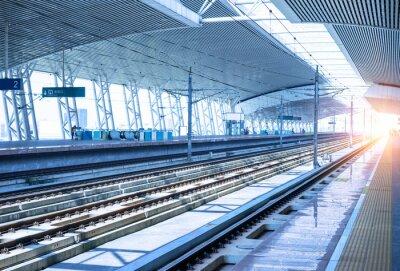 Väggdekor tom järnvägsplattform bakgrund