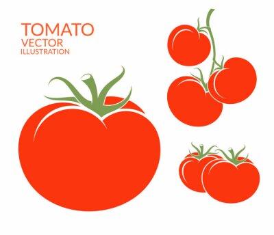 Väggdekor Tomat. Isolerade grönsaker på vit bakgrund