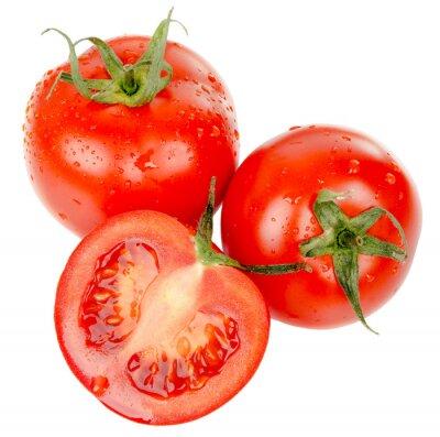 Väggdekor tomater med vattendroppar isolerade på vit bakgrund