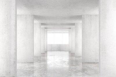 Väggdekor Tomt rum med betongväggar, betonggolv och stora fönster, 3
