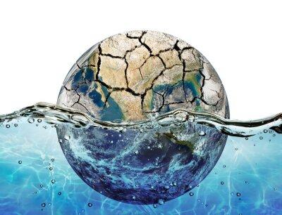 Väggdekor Torkade upp planet nedsänkt i vatten världshaven