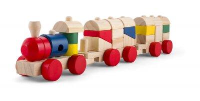 Väggdekor Trä leksak tåg med färgglada block isolerade över white