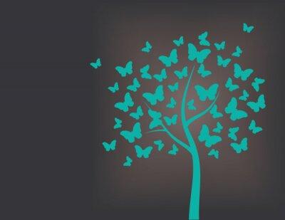 Väggdekor Träd gjord av fjärilar