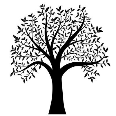 Väggdekor träd med löv vektor