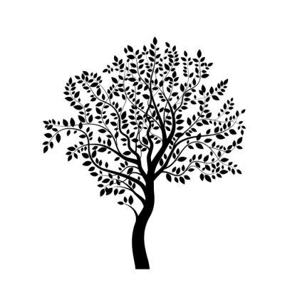 Väggdekor Träd svart silhuett isolerad på vitt