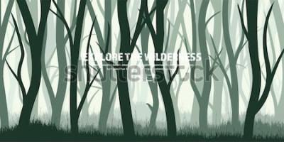 Väggdekor Träd uppsättning. Lös tallskog, naturbakgrund. Trä. Vektorillustration. Banner. Mörkgrönt träd. Landscape.Grass, äng.