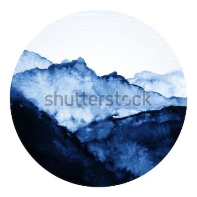 Väggdekor Traditionell asiatisk bläckkonst med berg. Vektorkonstillustration.