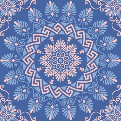 Väggdekor Traditionell seamless vintage rosa, vit och blå rund blom- grekiska prydnad, Meander