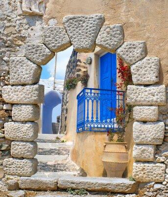 Väggdekor Traditionella arkitekturen i Oia by på ön Santorini, Gre