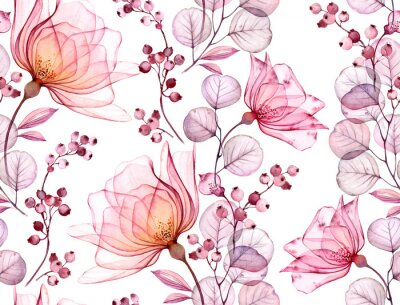 Väggdekor Transparent rose watercolor seamless pattern. Hand drawn floral illustration with pink berries for wedding design, surface, textile, wallpaper