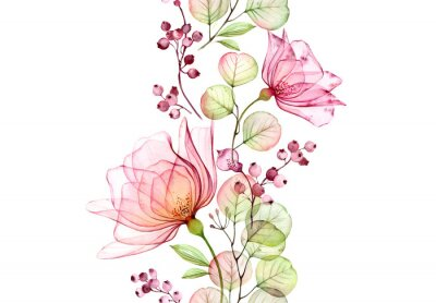 Väggdekor Transparent watercolor rose. Seamless vertical border. Isolated hand drawn arrangement with big flowers, eucalyptus and berries for wedding design, stationery card print