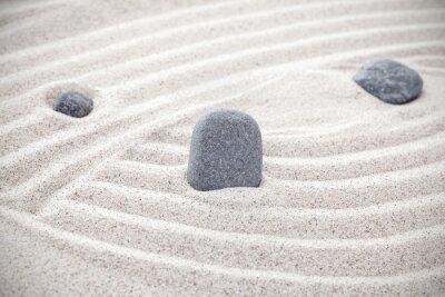 Väggdekor Tre stenar i sanden, zen koncept