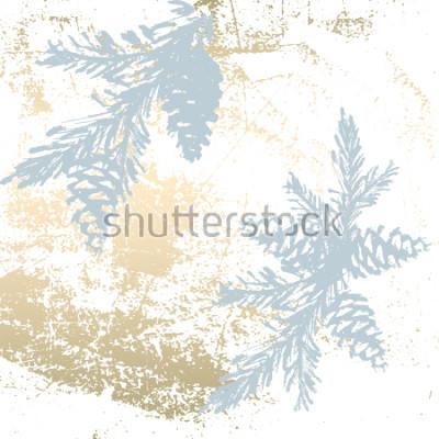 Väggdekor Trendig Chic Pastellfärgad bakgrund med guldfolie tidigare och målade julgran silhuetter. Abstrakta ovanliga texturer för tapeter, gratulationskort, rubriker, dekorationselement. Vektor