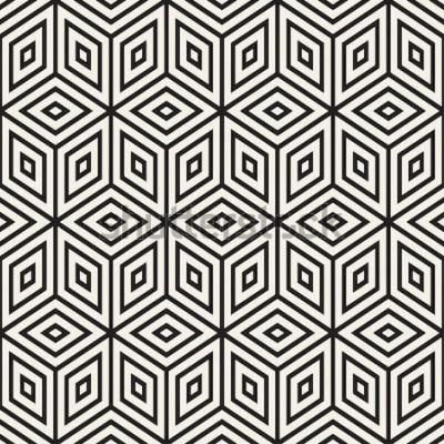 Väggdekor Trendiga svartvita linjegitter. Abstrakt geometrisk bakgrundsdesign. Sömlös svartvit mönster för vektor.