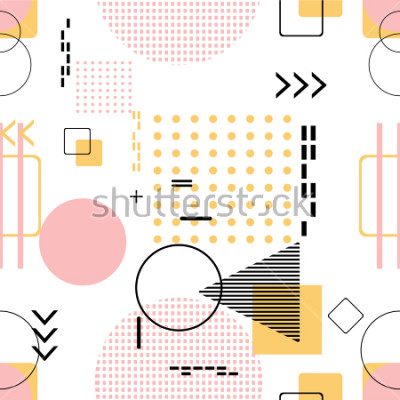 Väggdekor Trendigt sömlös, Memphis stil med geometriskt mönster, vektor illustration med geometriska figurer. Design bakgrunder för inbjudan, broschyr och marknadsföring mall.