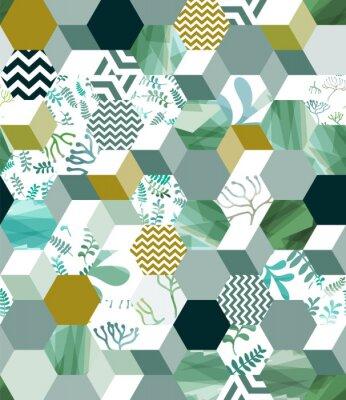 Väggdekor Trendigt sömlöst bakgrundsmönster med hexagonplattor i grönt, eps10