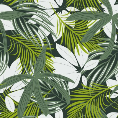 Väggdekor Trending abstract seamless pattern with colorful tropical leaves and plants on green background. Vector design. Jungle print. Floral background. Printing and textiles. Exotic tropics. Fresh design.