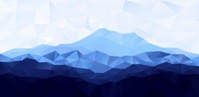 Väggdekor Triangel låg poly polygon geometrisk bakgrund med blå berg