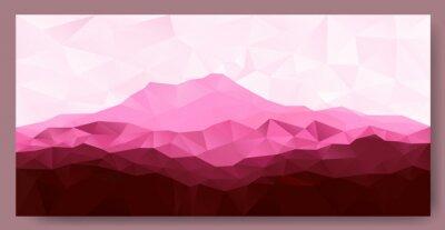 Väggdekor Triangel låg poly polygon geometrisk bakgrund med rosa berg