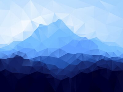 Väggdekor Triangle geometrisk bakgrund med blå berg