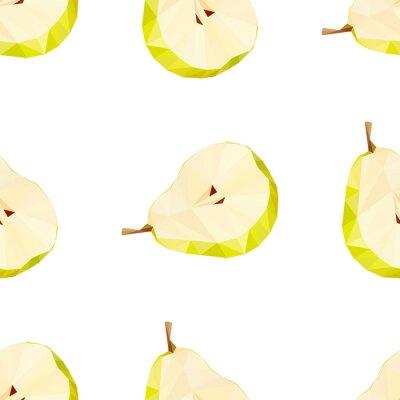 Väggdekor Triangle polygonal päron vektorillustration. Saftig frukt.