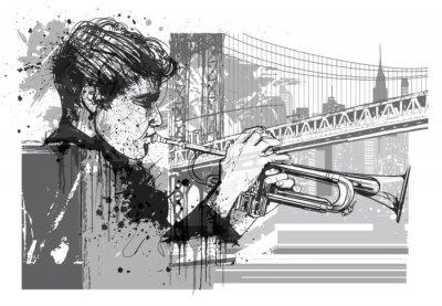Väggdekor Trompetspelare i New York (Brooklyn)